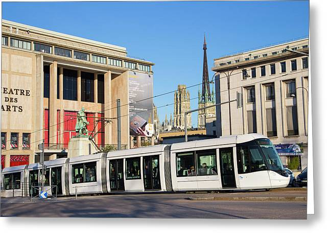 City Centre Tram Greeting Card by Andrew Wheeler