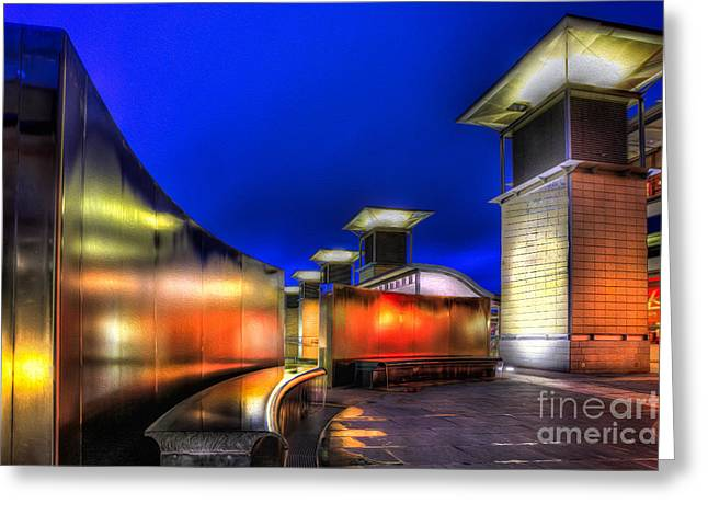 Exhibition Greeting Cards - City Lights Greeting Card by Adrian Evans