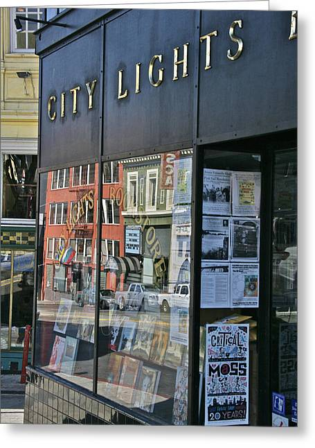 Bookstore Greeting Cards - City Lights Greeting Card by Steven Lapkin