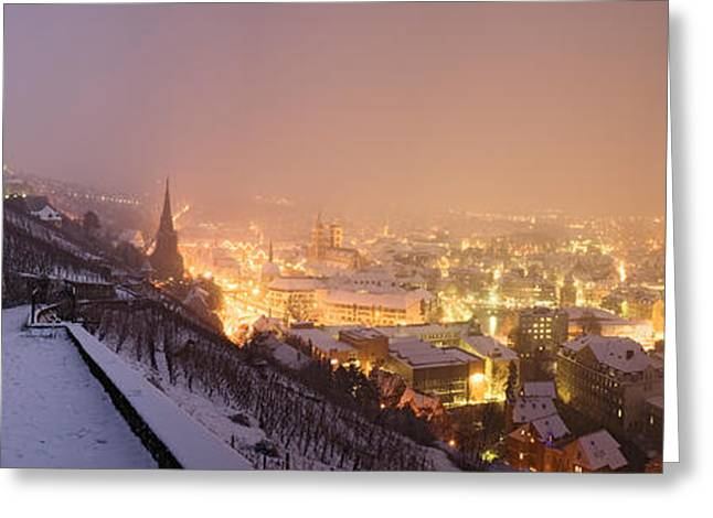Winter Night Greeting Cards - City Lit Up At Night, Esslingen Greeting Card by Panoramic Images