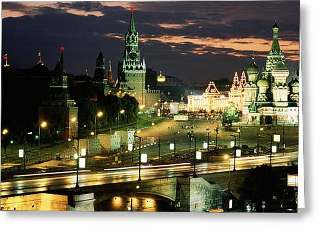 City Lit Up At Night, Red Square Greeting Card by Panoramic Images