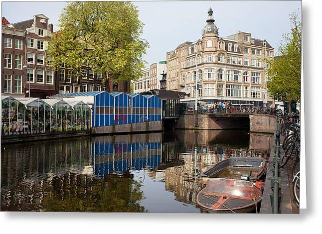 Amsterdam Market Greeting Cards - City of Amsterdam Cityscape Greeting Card by Artur Bogacki