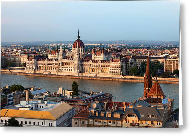 Neogothic Greeting Cards - City of Budapest Cityscape Greeting Card by Artur Bogacki