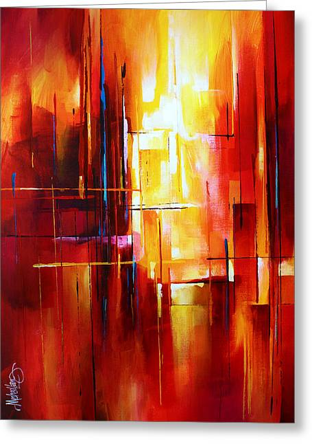 Abstract Expressionist Greeting Cards - City of Fire Greeting Card by Michael Lang