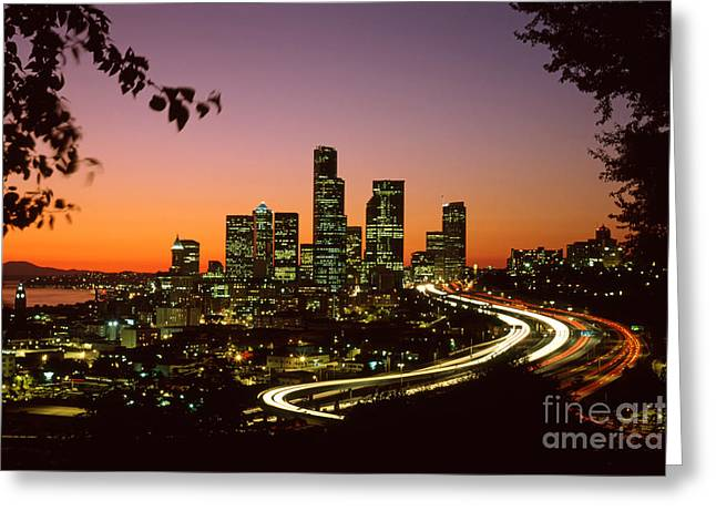 Skyline Greeting Cards - City of Seattle skyline Greeting Card by King Wu