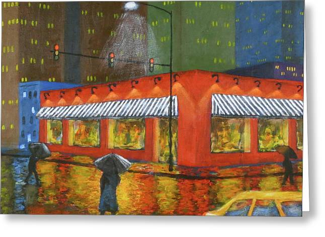 Untied States Artist Greeting Cards - City Showers Greeting Card by J Loren Reedy