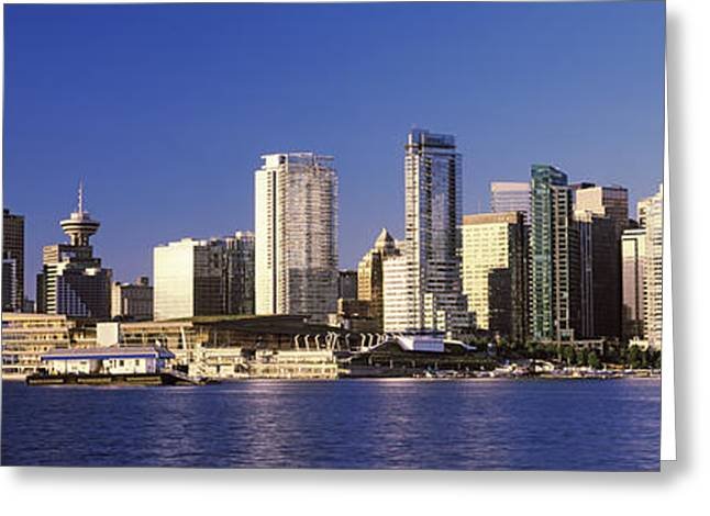 Vancouver Skyline Panorama Greeting Cards - City Skyline, Vancouver, British Greeting Card by Panoramic Images