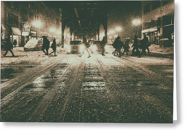 Keeping In Touch Photographs Greeting Cards - City Snow Greeting Card by Kent Henderson