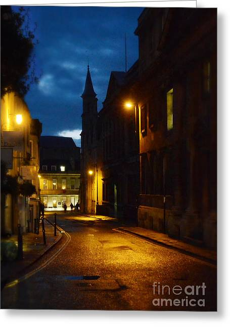 Evening Lights Greeting Cards - City Street at Night Greeting Card by Jill Battaglia