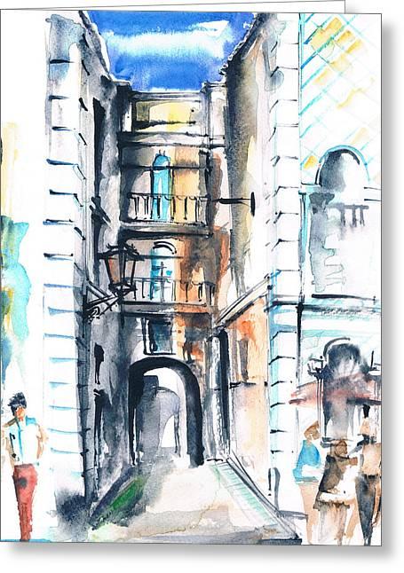 Prague Paintings Greeting Cards - City Greeting Card by Turdean Mircea