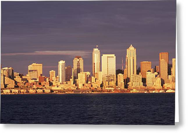 Beach Photography Greeting Cards - City Viewed From Alki Beach, Seattle Greeting Card by Panoramic Images