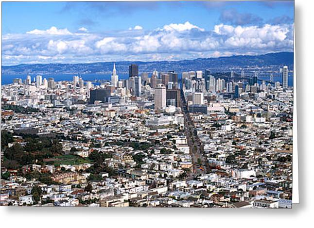 San Francisco Peaks Greeting Cards - Cityscape Viewed From The Twin Peaks Greeting Card by Panoramic Images