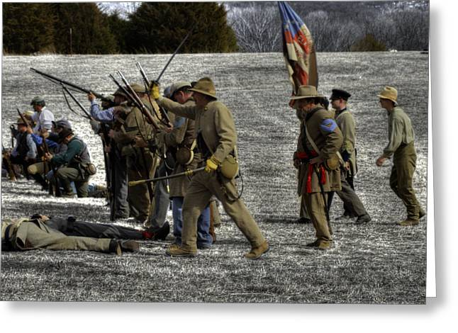 Skirmish Line Greeting Cards - civil war confederate Troops v3 Greeting Card by John Straton