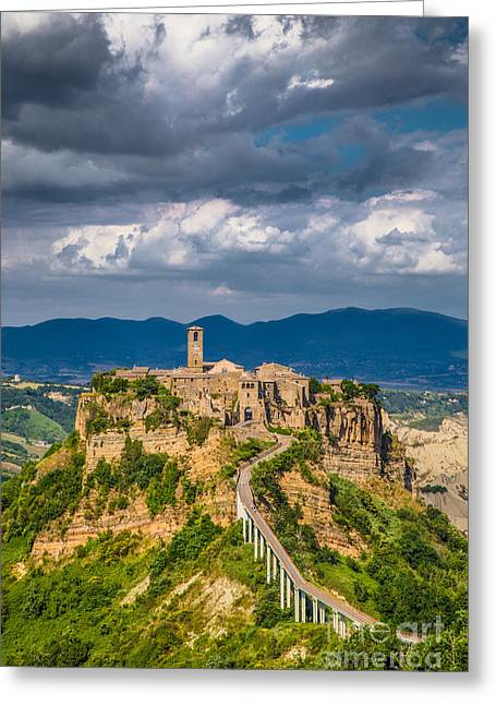 Italian Sunset Greeting Cards - Civita di Bagnoregio Greeting Card by JR Photography