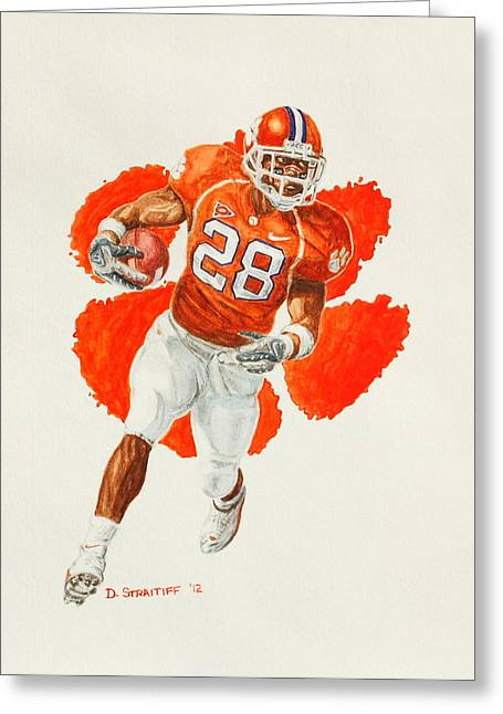 Running Back Paintings Greeting Cards - C.J. Spiller - Clemson Tigers Greeting Card by David Straitiff
