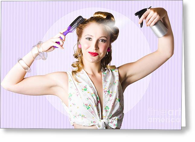 1950s Portraits Greeting Cards - Classic 50s Pinup Girl Combing Hair Style Greeting Card by Ryan Jorgensen