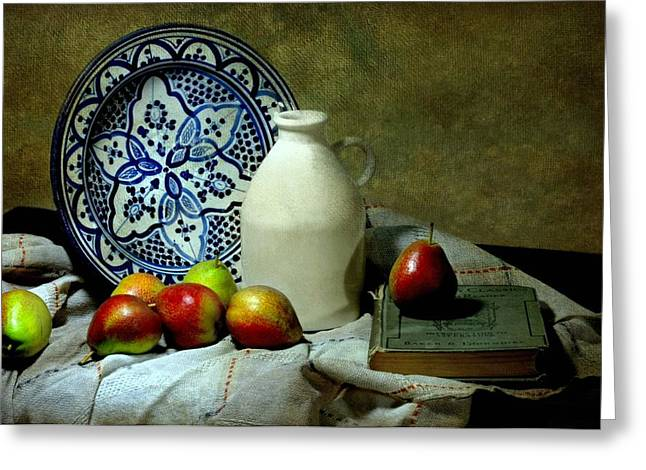 Table Cloth Greeting Cards - Classic Blue Greeting Card by Diana Angstadt