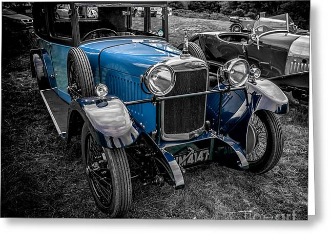 Blue Car. Greeting Cards - Classic Cars Greeting Card by Adrian Evans