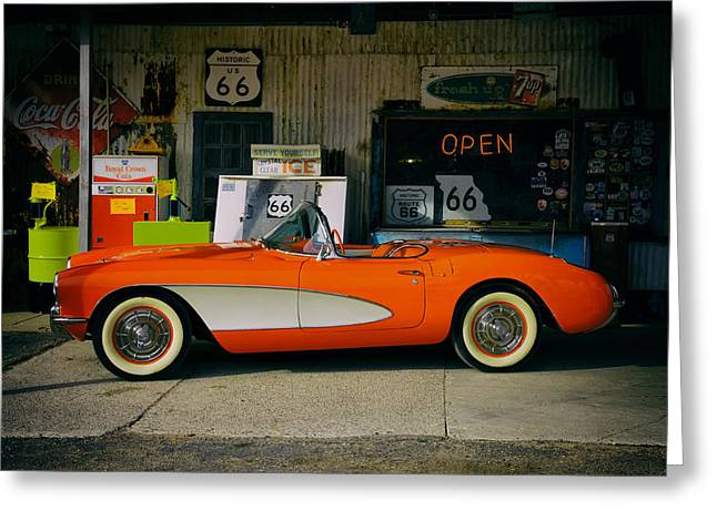 Hackberry Greeting Cards - Classic Corvette Greeting Card by Mountain Dreams