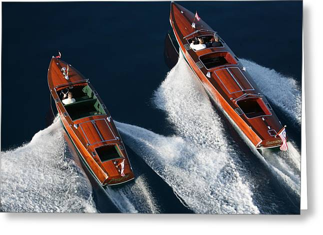 Classic Mahogany Runabouts Greeting Card by Steven Lapkin