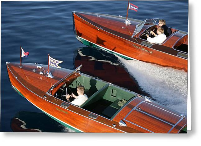 Mahogany Greeting Cards - Classic Speedboats Greeting Card by Steven Lapkin