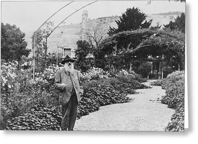 Photograph Of Painter Greeting Cards - Claude Monet in his garden at Giverny Greeting Card by French School