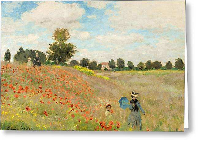 Awesome Greeting Cards - Claude Monet - Poppy Field Greeting Card by Claude Monet