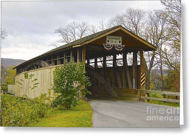 Covered Bridge Greeting Cards - Claycomb Covered Bridge Greeting Card by Lori Amway
