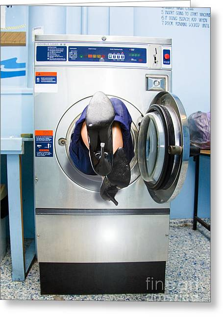 Hair-washing Greeting Cards - Cleaning Lady Trapped In Washing Machine Greeting Card by Ryan Jorgensen