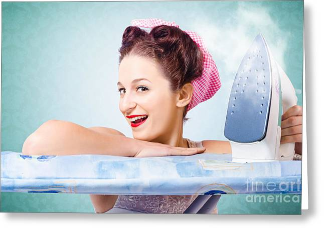 Satisfaction Greeting Cards - Cleaning pin-up housewife with hot clothing iron  Greeting Card by Ryan Jorgensen