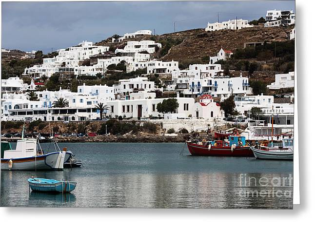 Boats In Harbor Greeting Cards - Clear Day in Mykonos Greeting Card by John Rizzuto