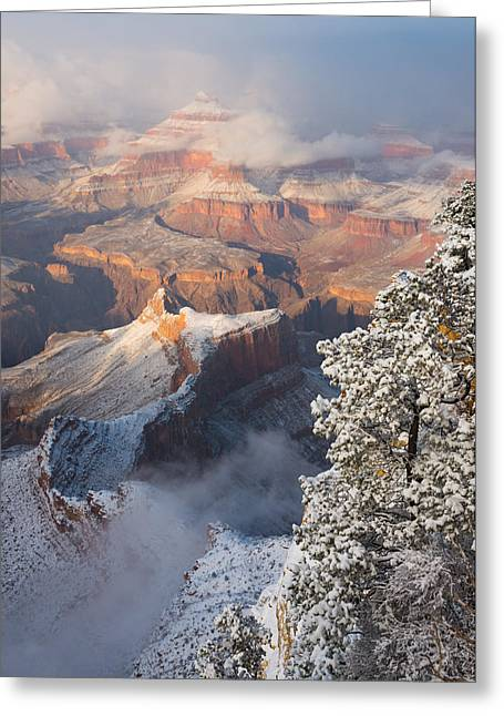 The Grand Canyon Greeting Cards - Clearing Winter Storm at the Grand Canyon. Greeting Card by Adam Schallau