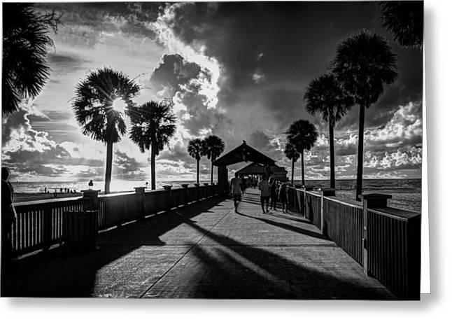 Ocean Vista Greeting Cards - Clearwater Beach Pier Sunset Greeting Card by Mountain Dreams