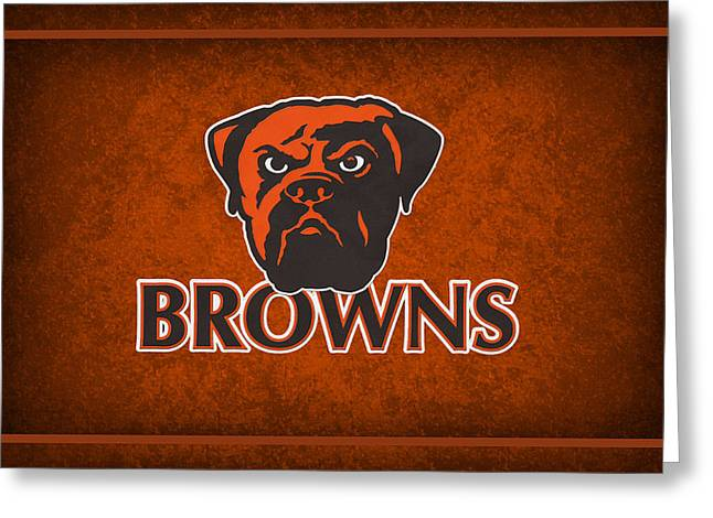 Brown Grass Greeting Cards - Cleveland Browns Greeting Card by Joe Hamilton