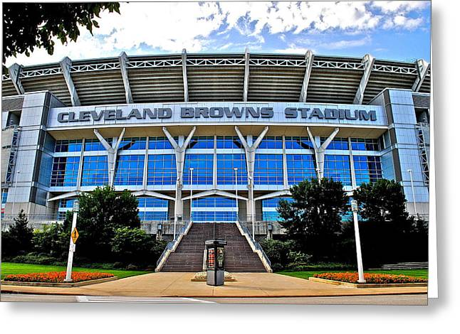 Press Box Greeting Cards - Cleveland Browns Stadium Greeting Card by Frozen in Time Fine Art Photography