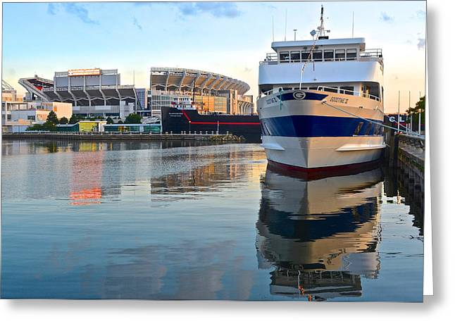 Ballgame Greeting Cards - Cleveland Harbor Greeting Card by Frozen in Time Fine Art Photography