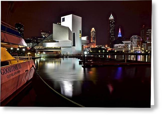 State Dinners Greeting Cards - Cleveland Lakefront Greeting Card by Frozen in Time Fine Art Photography