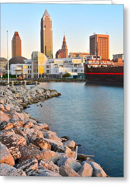 Cuyahoga River Greeting Cards - Cleveland Ohio Greeting Card by Frozen in Time Fine Art Photography