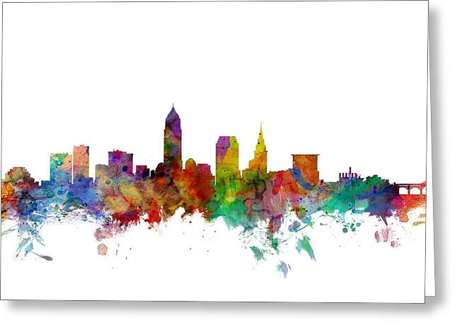 Cityscape Greeting Cards - Cleveland Ohio Skyline Greeting Card by Michael Tompsett