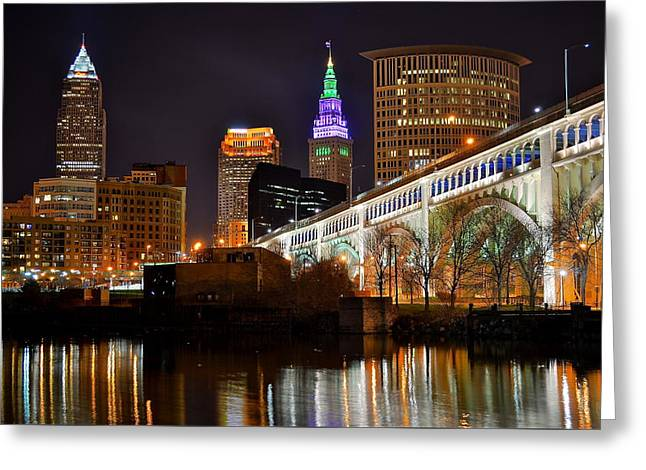 Baseball Stadiums Greeting Cards - Cleveland over the Cuyahoga Greeting Card by Frozen in Time Fine Art Photography