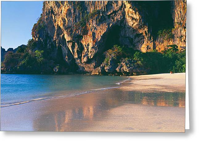 Beach Photography Greeting Cards - Cliff On The Beach, Railay Beach Greeting Card by Panoramic Images