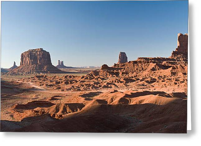 Open Place Greeting Cards - Cliffs On A Landscape, Monument Valley Greeting Card by Panoramic Images