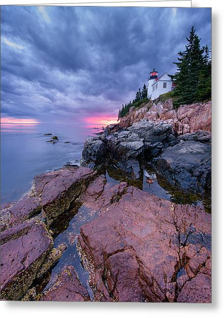 Bass Head Light Greeting Cards - Cliffside Greeting Card by Michael Blanchette