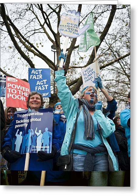 Demonstrator Greeting Cards - Climate change demonstration, London Greeting Card by Science Photo Library