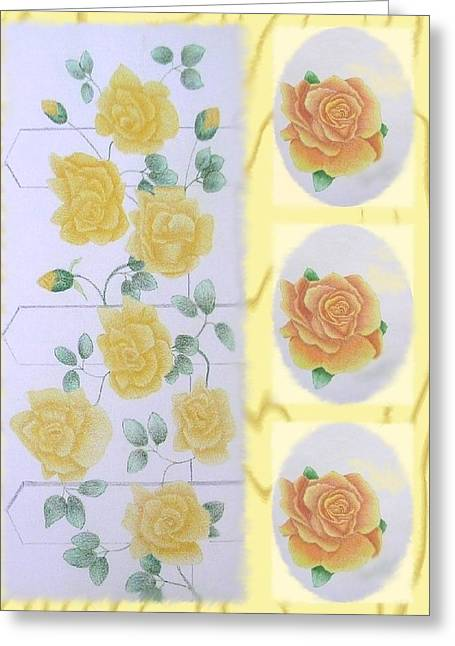 Trellis Drawings Greeting Cards - Climbing Yellow Roses Greeting Card by Dusty Reed