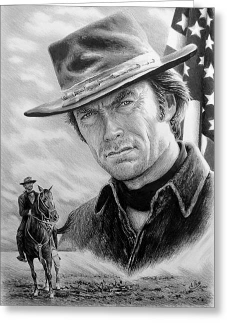 Cowboy Sketches Greeting Cards - Clint Eastwood American Legend Greeting Card by Andrew Read