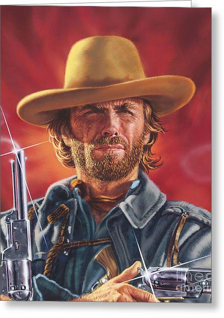Hollywood Legend Greeting Cards - Clint Eastwood Greeting Card by Dick Bobnick