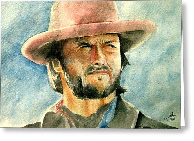 Etc. Paintings Greeting Cards - Clint Eastwood Greeting Card by Nitesh Kumar