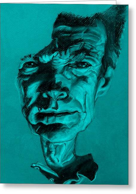 Movie Pastels Greeting Cards - Clint Eastwood Turquoise Greeting Card by Rob Hans