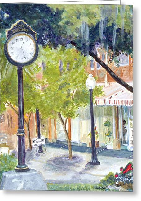 Clock In The Park Greeting Card by Linda Kegley